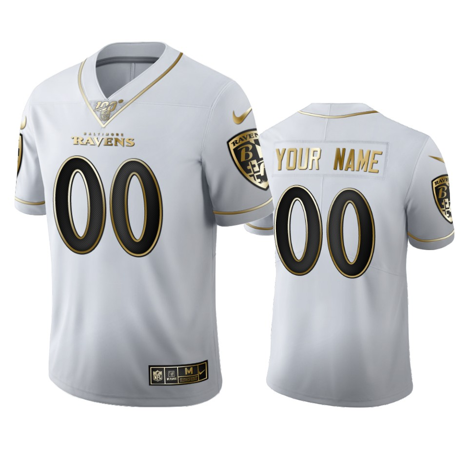 Baltimore Ravens Custom Men's Nike White Golden Edition Vapor Limited NFL 100 Jersey