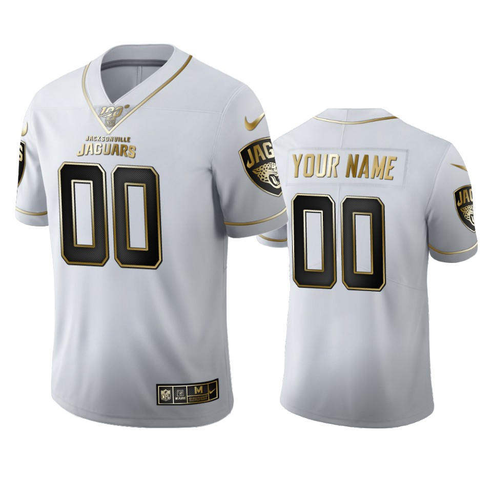 Jacksonville Jaguars Custom Men's Nike White Golden Edition Vapor Limited NFL 100 Jersey