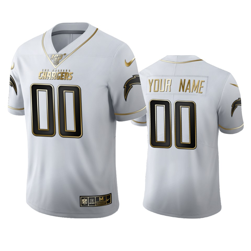 Los Angeles Chargers Custom Men's Nike White Golden Edition Vapor Limited NFL 100 Jersey