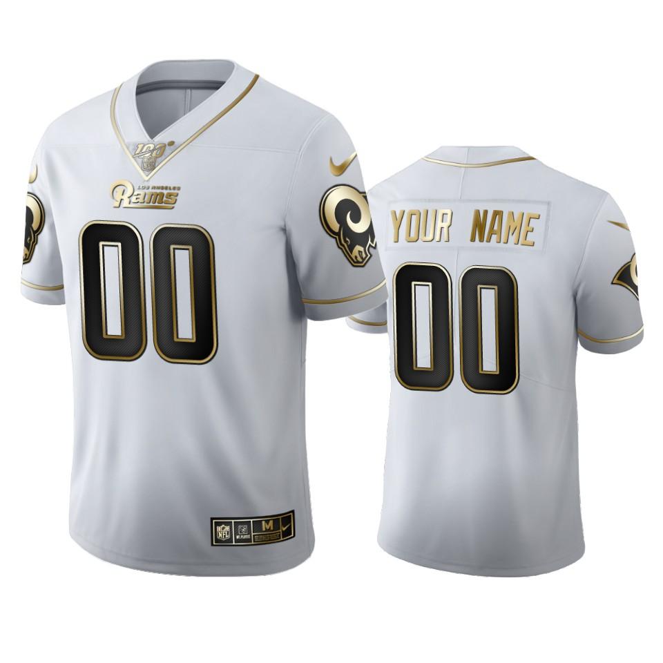 Los Angeles Rams Custom Men's Nike White Golden Edition Vapor Limited NFL 100 Jersey
