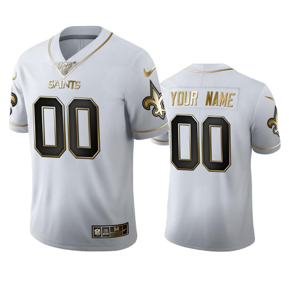 New Orleans Saints Custom Men's Nike White Golden Edition Vapor Limited NFL 100 Jersey