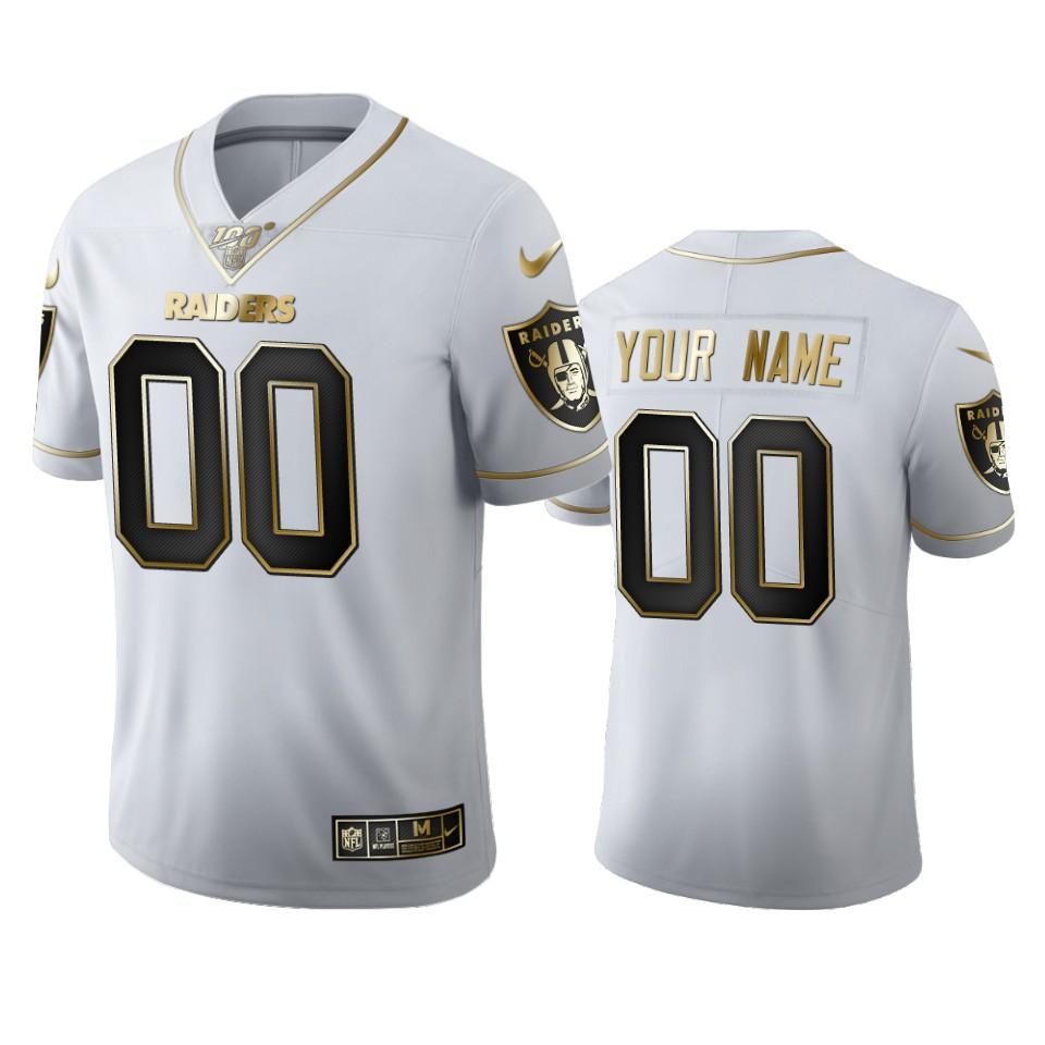 Oakland Raiders Custom Men's Nike White Golden Edition Vapor Limited NFL 100 Jersey