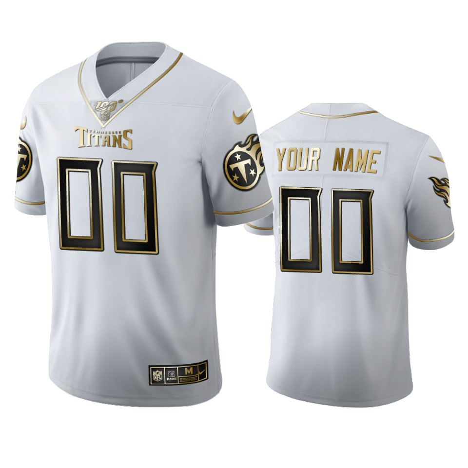 Tennessee Titans Custom Men's Nike White Golden Edition Vapor Limited NFL 100 Jersey