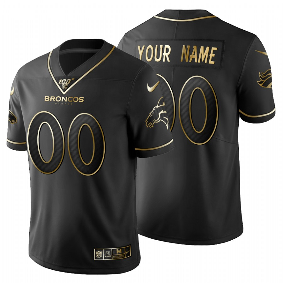 Denver Broncos Custom Men's Nike Black Golden Limited NFL 100 Jersey