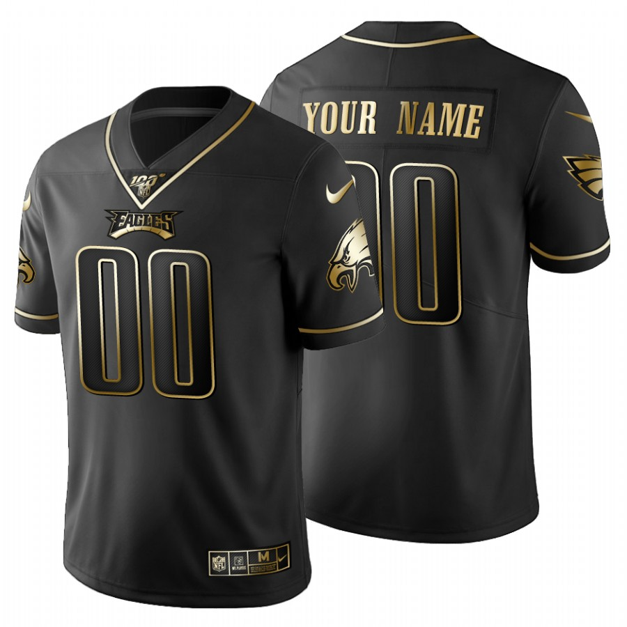 Philadelphia Eagles Custom Men's Nike Black Golden Limited NFL 100 Jersey
