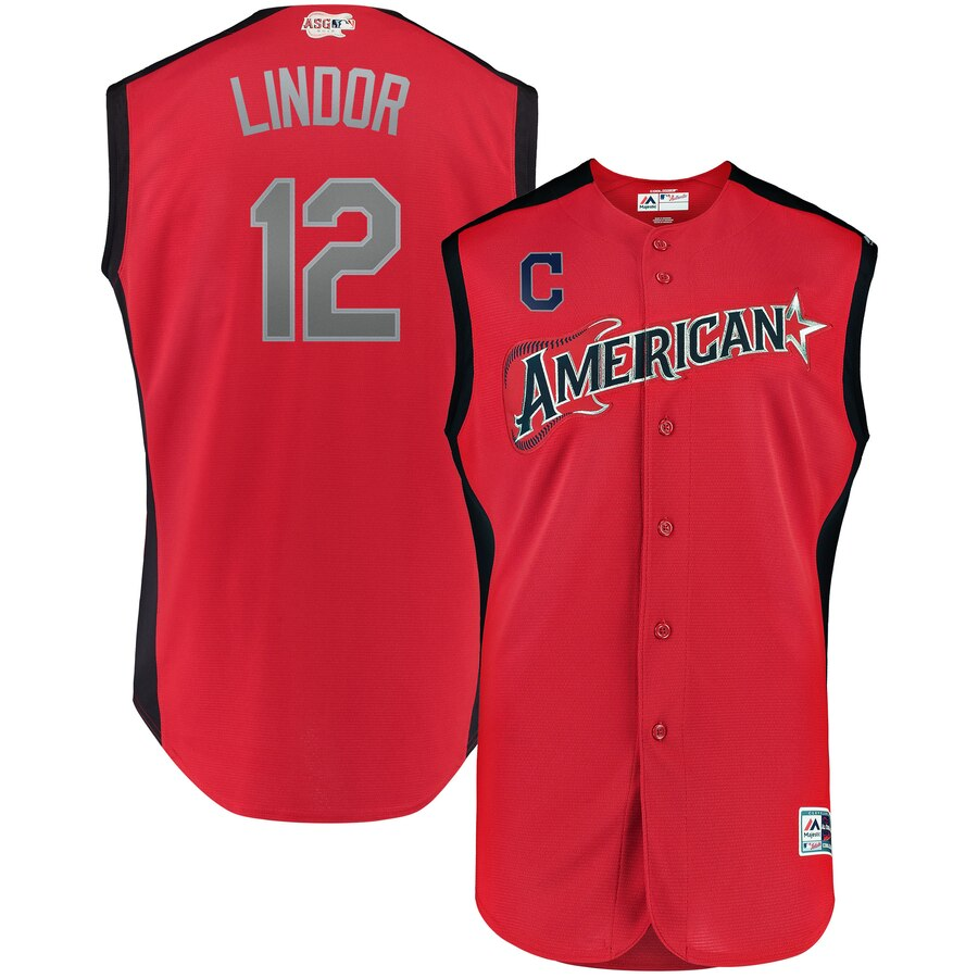 American League #12 Francisco Lindor Majestic 2019 MLB All-Star Game Workout Player Jersey Red