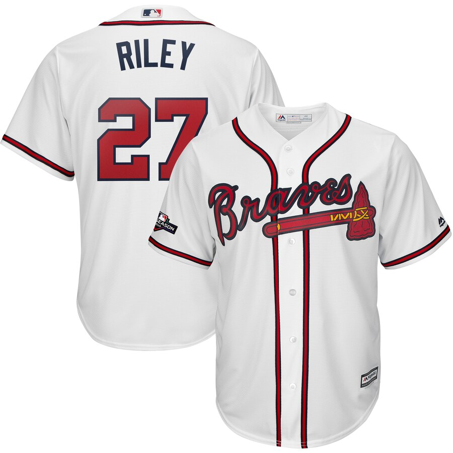 Atlanta Braves #27 Austin Riley Majestic 2019 Postseason Official Cool Base Player Jersey White