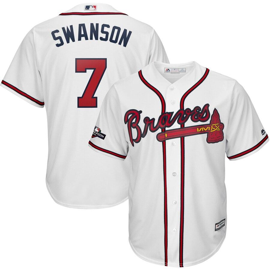 Atlanta Braves #7 Dansby Swanson Majestic 2019 Postseason Official Cool Base Player Jersey White