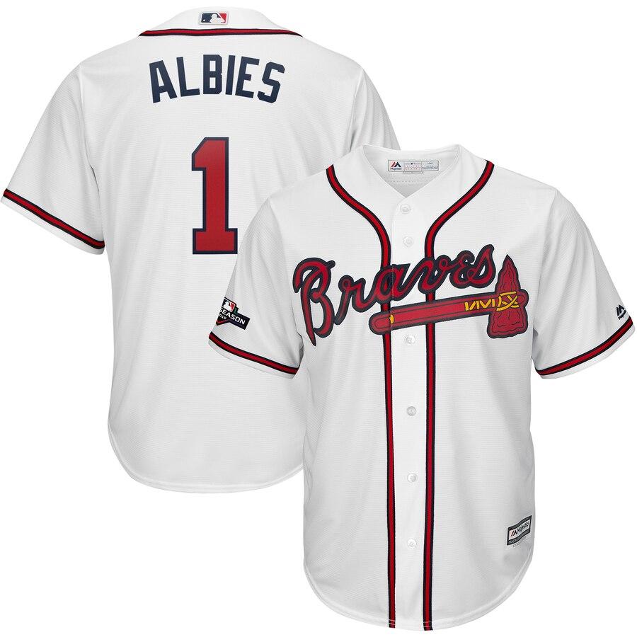 Atlanta Braves #1 Ozzie Albies Majestic 2019 Postseason Official Cool Base Player Jersey White