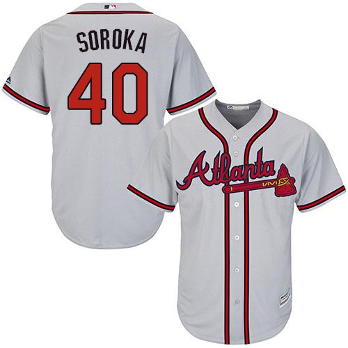 Braves #40 Mike Soroka Grey New Cool Base Stitched MLB Jersey