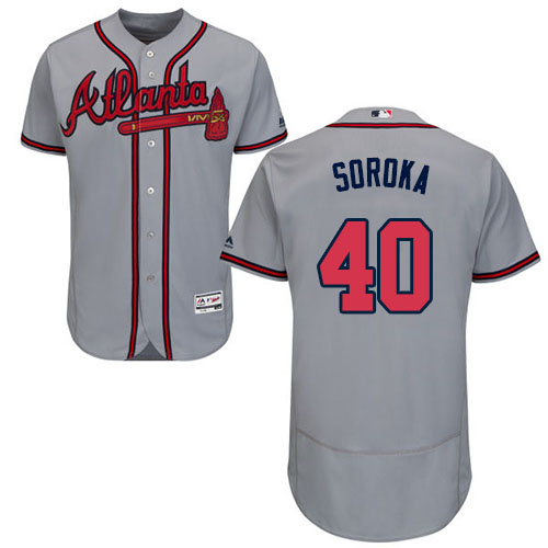 Braves #40 Mike Soroka Grey Flexbase Authentic Collection Stitched MLB Jersey