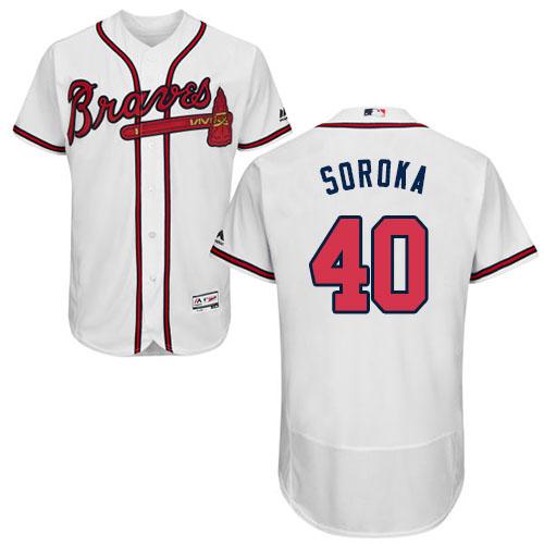 Braves #40 Mike Soroka White Flexbase Authentic Collection Stitched MLB Jersey