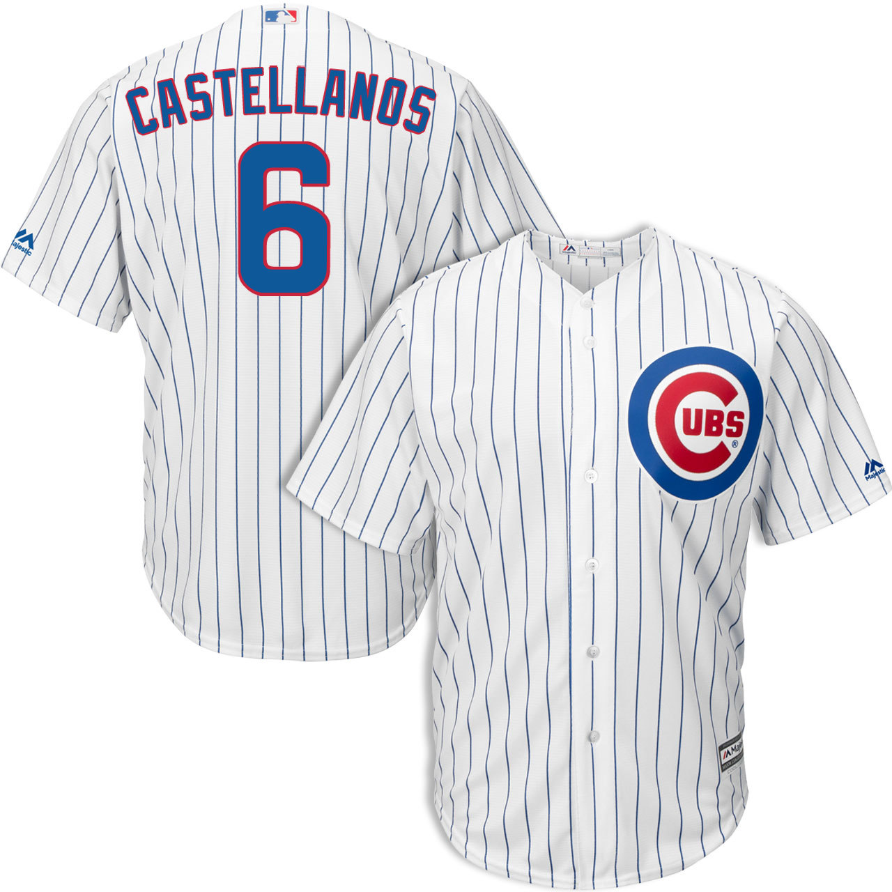 Cubs #6 Nicholas Castellanos White Strip New Cool Base Stitched MLB Jersey