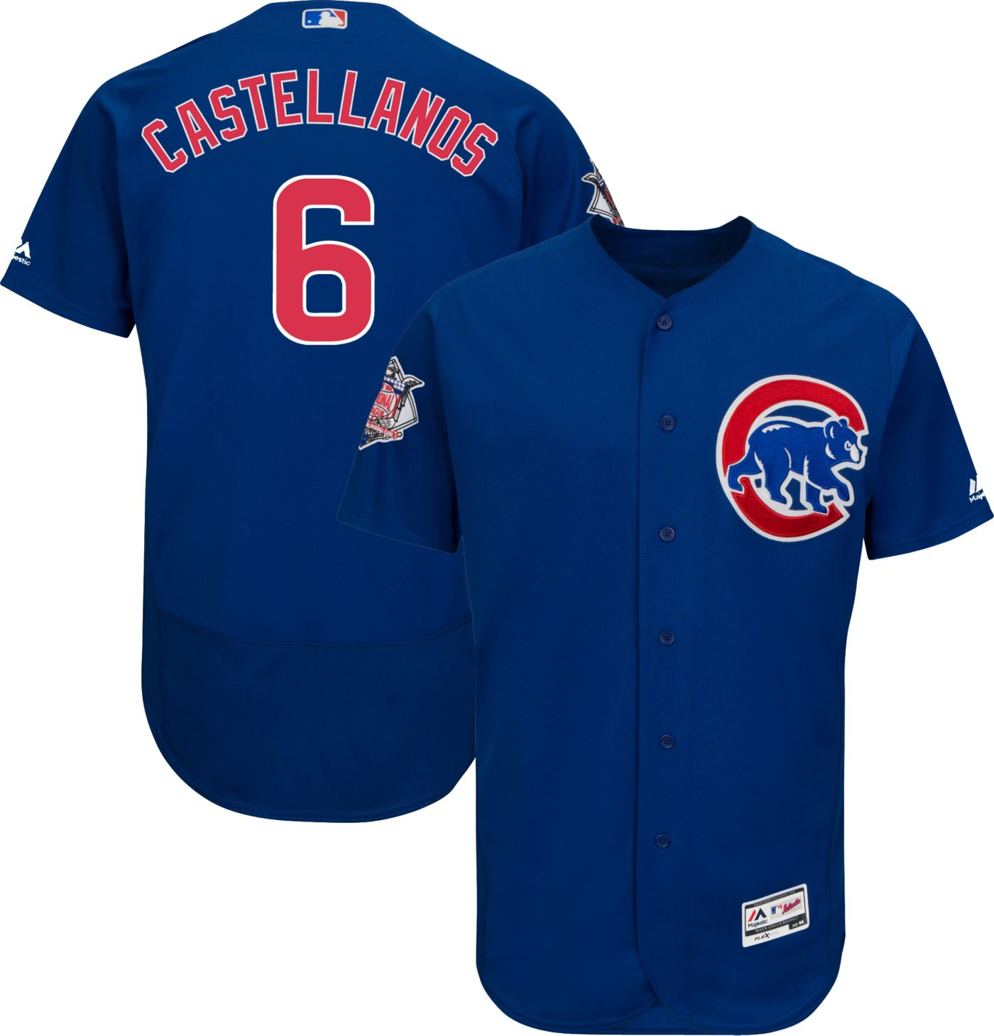Cubs #6 Nicholas Castellanos Blue Flexbase Authentic Collection Stitched MLB Jersey