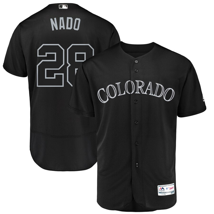 Colorado Rockies #28 Nolan Arenado Nado Majestic 2019 Players' Weekend Flex Base Authentic Player Jersey Black