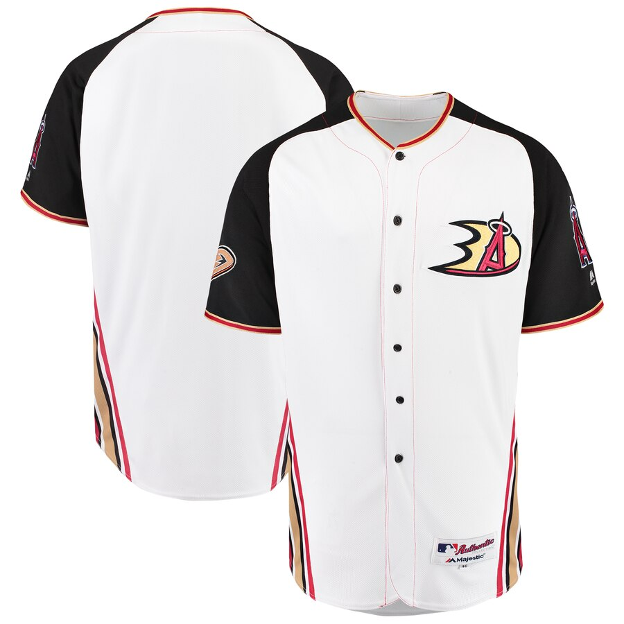 Los Angeles Angels Majestic 2019 Anaheim Ducks Crossover Flex Base Authentic Jersey White