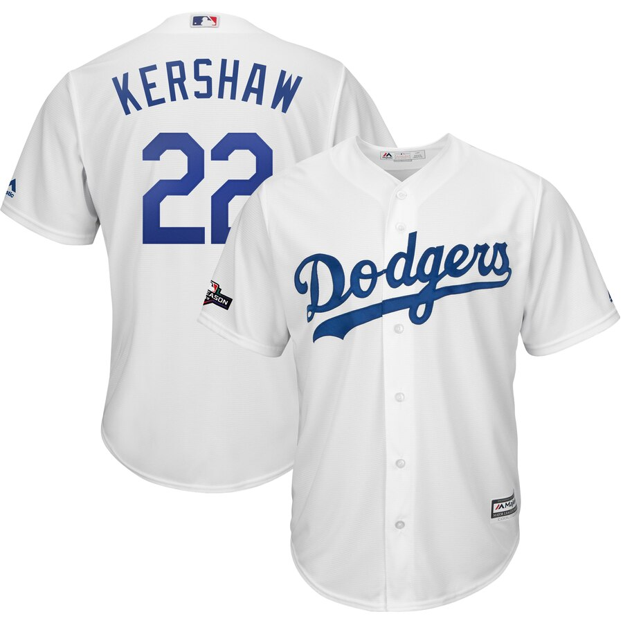 Los Angeles Dodgers #22 Clayton Kershaw Majestic 2019 Postseason Home Official Cool Base Player Jersey White
