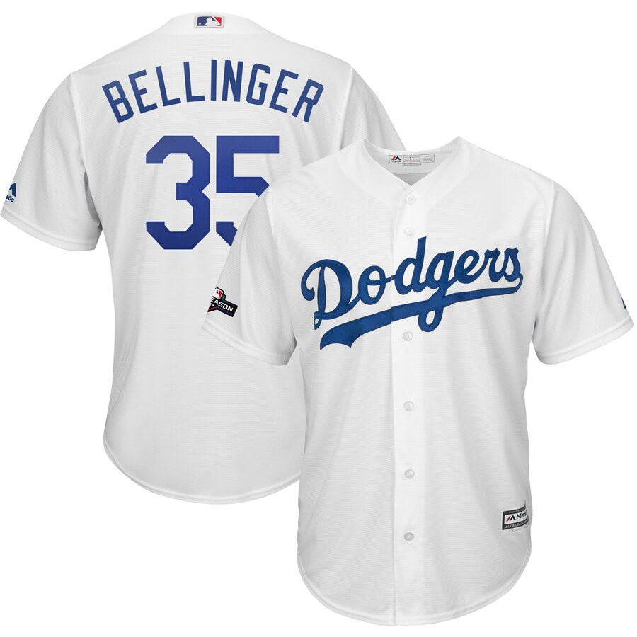 Los Angeles Dodgers #35 Cody Bellinger Majestic 2019 Postseason Home Official Cool Base Player Jersey White