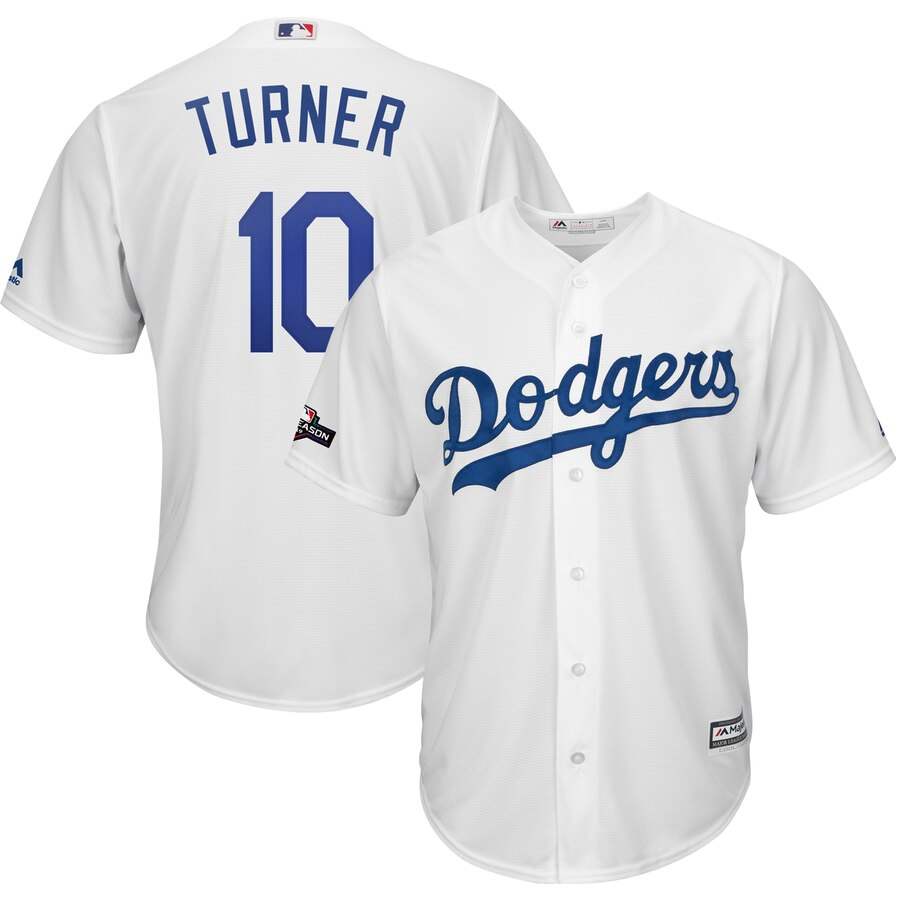 Los Angeles Dodgers #10 Justin Turner Majestic 2019 Postseason Home Official Cool Base Player Jersey White