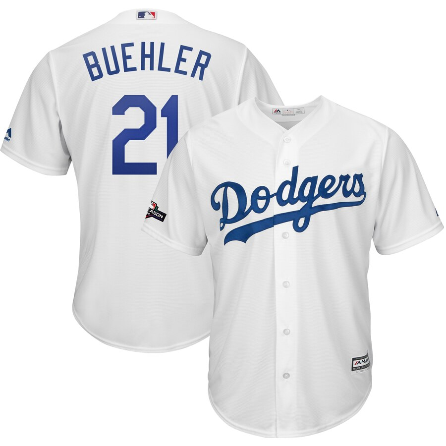 Los Angeles Dodgers #21 Walker Buehler Majestic 2019 Postseason Home Official Cool Base Player Jersey White