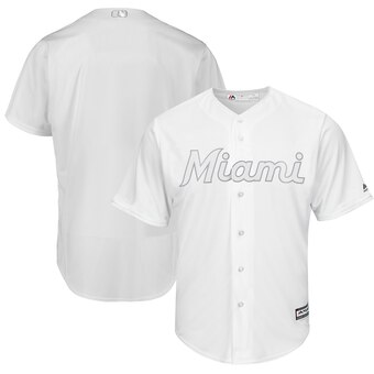 Miami Marlins Blank Majestic 2019 Players' Weekend Cool Base Team Jersey White