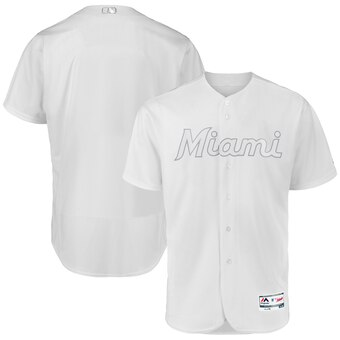 Miami Marlins Blank Majestic 2019 Players' Weekend Flex Base Authentic Team Jersey White
