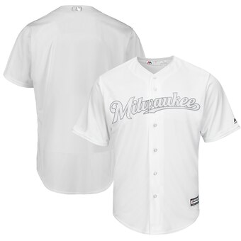 Milwaukee Brewers Blank Majestic 2019 Players' Weekend Cool Base Team Jersey White