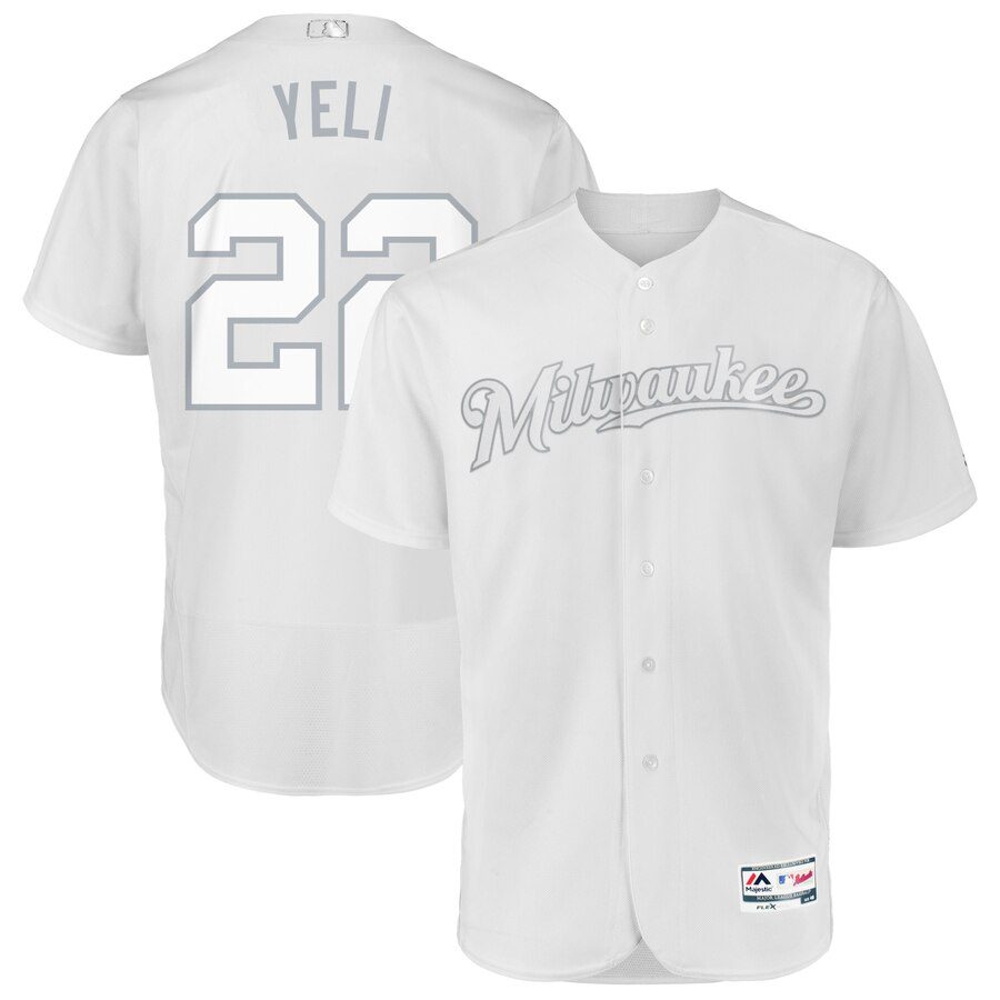 Milwaukee Brewers #22 Christian Yelich Yeli Majestic 2019 Players' Weekend Flex Base Authentic Player Jersey White