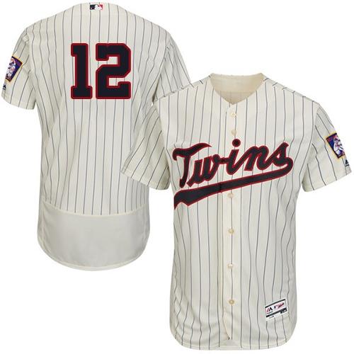 Twins #12 Jake Odorizzi Cream Strip Flexbase Authentic Collection Stitched MLB Jersey
