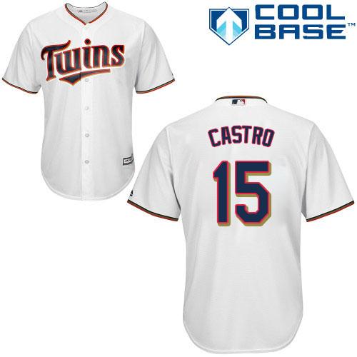 Twins #15 Jason Castro White Cool Base Stitched MLB Jersey