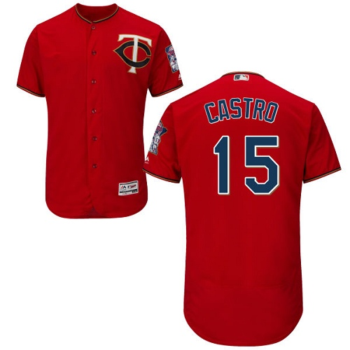 Twins #15 Jason Castro Red Flexbase Authentic Collection Stitched MLB Jersey