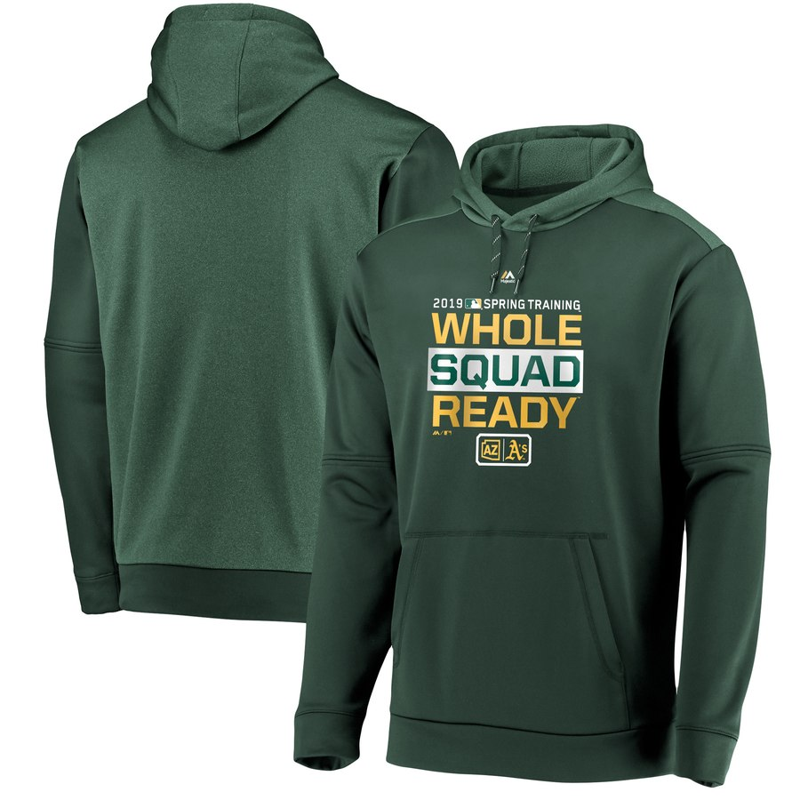 Oakland Athletics Majestic 2019 Spring Training Authentic Collection Pullover Hoodie Green