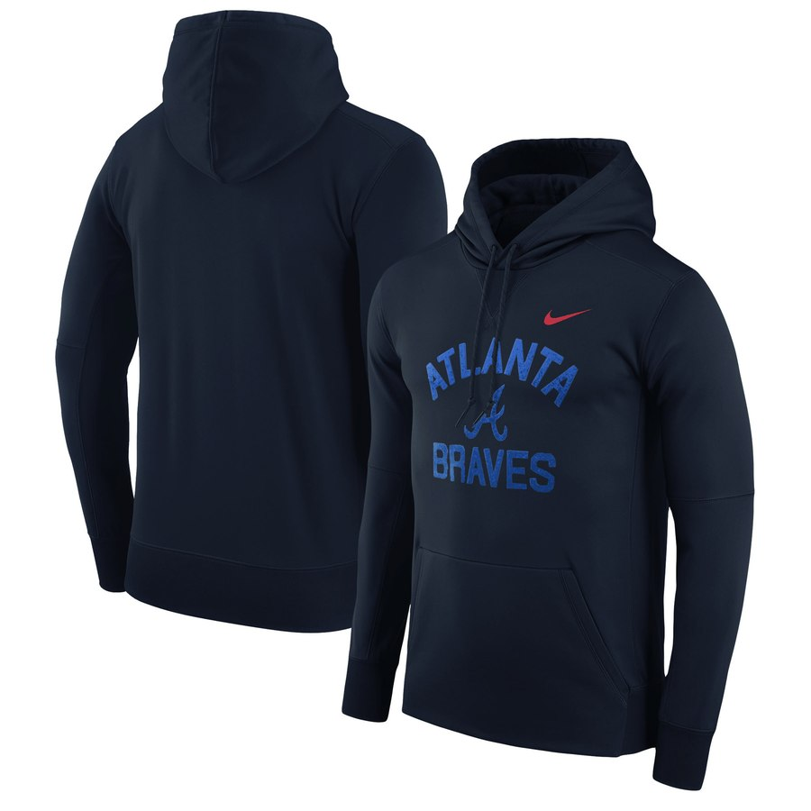 Atlanta Braves Nike Therma Pullover Hoodie Navy
