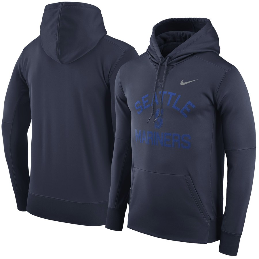 Seattle Mariners Nike Therma Pullover Hoodie Navy