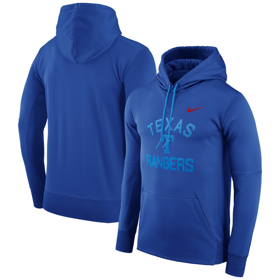 Texas Rangers Nike Therma Pullover Hoodie Royal