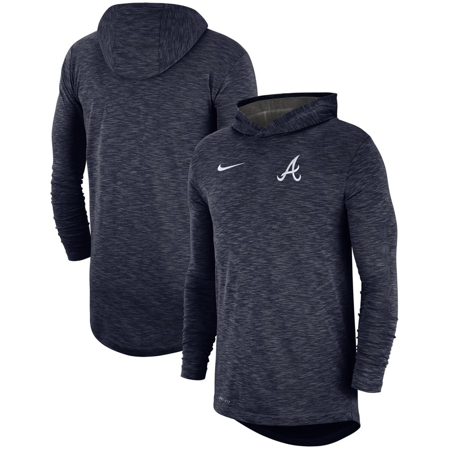 Atlanta Braves Nike Performance Slub Pullover Hoodie Navy