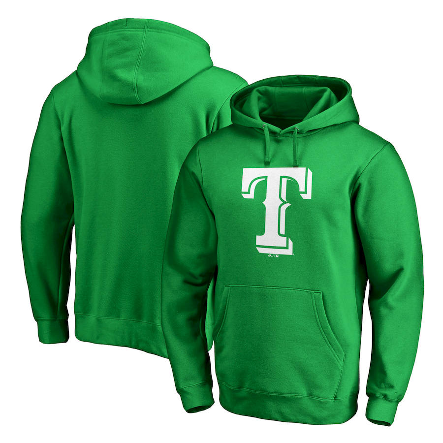 Texas Rangers Majestic St. Patrick's Day White Logo Pullover Hoodie Kelly Green