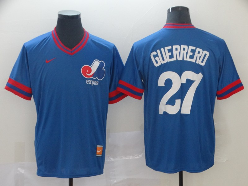Montreal Expos #27 Vladimir Guerrero Blue Nike Retro Authentic Stitched MLB Jersey