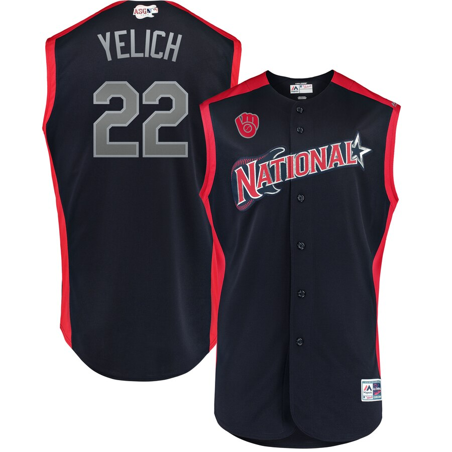 National League #22 Christian Yelich Majestic 2019 MLB All-Star Game Workout Player Jersey Navy
