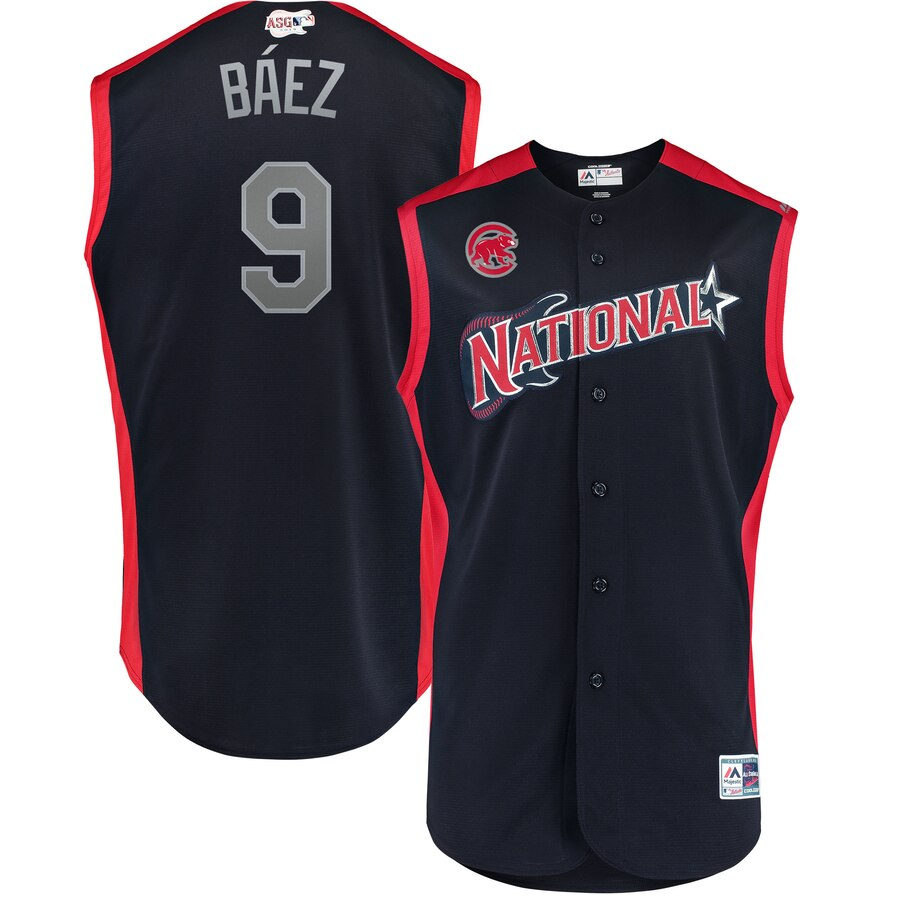 National League #9 Javier Baez Majestic 2019 MLB All-Star Game Workout Player Jersey Navy