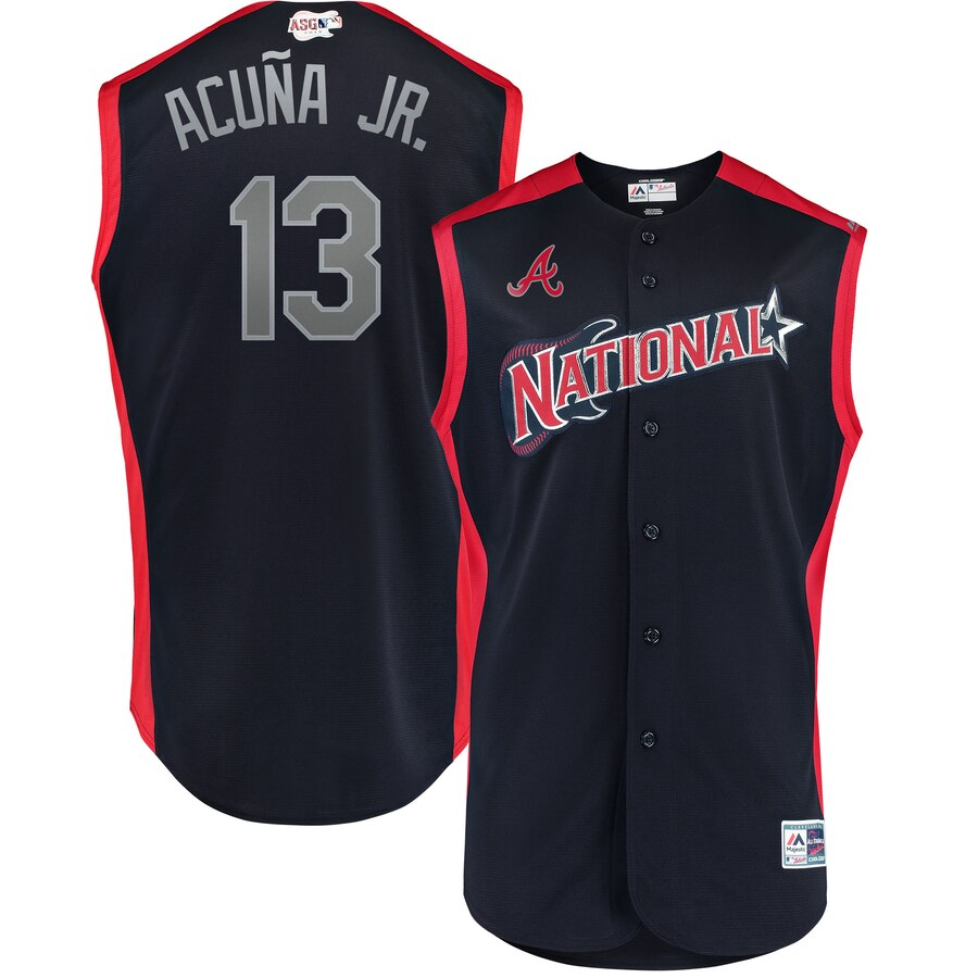 National League #13 Ronald Acuna Jr. Majestic 2019 MLB All-Star Game Workout Player Jersey Navy