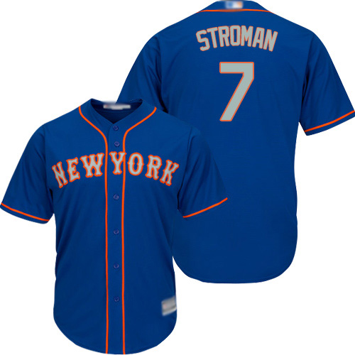 Mets #7 Marcus Stroman Blue(Grey NO.) New Cool Base Stitched MLB Jersey