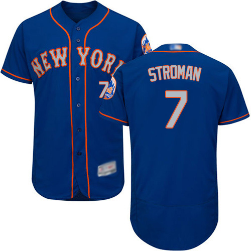 Mets #7 Marcus Stroman Blue(Grey NO.) Flexbase Authentic Collection Stitched MLB Jersey