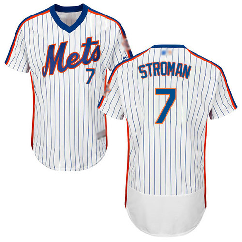 Mets #7 Marcus Stroman White(Blue Strip) Flexbase Authentic Collection Alternate Stitched MLB Jersey