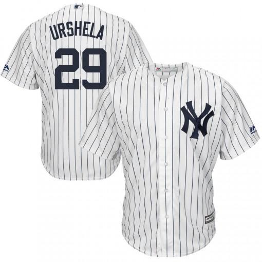 Yankees #29 Gio Urshela White Strip New Cool Base Stitched MLB Jersey