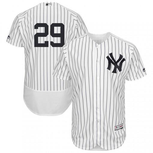 Yankees #29 Gio Urshela White Strip Flexbase Authentic Collection Stitched MLB Jersey