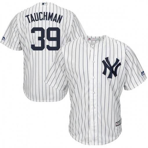 Yankees #39 Mike Tauchman White Strip New Cool Base Stitched MLB Jersey