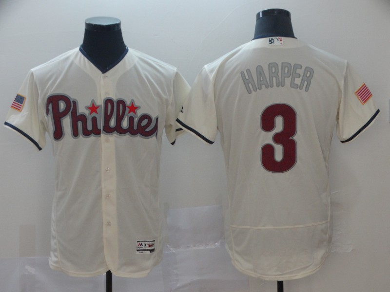 Philadelphia Phillies #3 Bryce Harper Cream Independence Day Flexbase Authentic Stitched MLB Jersey