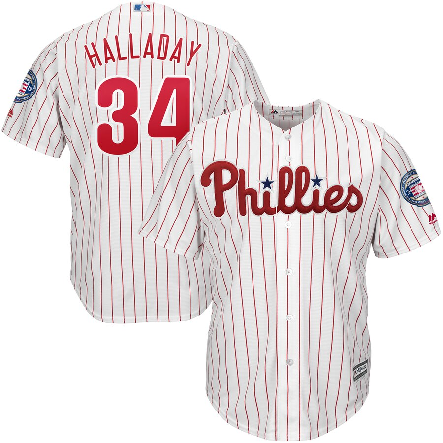 Philadelphia Phillies #34 Roy Halladay Majestic 2019 Hall of Fame Official Cool Base Player Jersey White Red