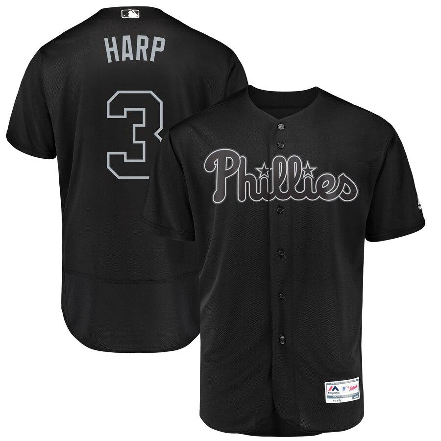 Philadelphia Phillies #3 Bryce Harper Harp Majestic 2019 Players' Weekend Flex Base Authentic Player Jersey Black